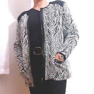 Laura Ashley Sweater Jacket Front Zip Zebra Print